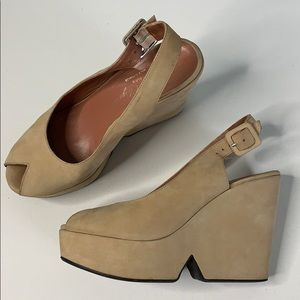 Robert Clergerie Wedge Suede Sandals